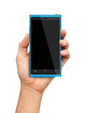 Hand holding Blue Smartphone with blank screen