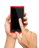 Hand holding and Touch on Red Smartphone