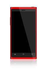Red Smartphone on White Background