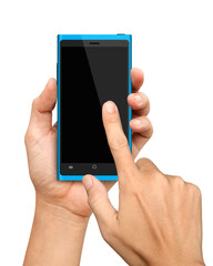 Hand holding and Touch on Blue Smartphone