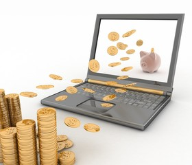 Piggy bank and laptop. Money fly into your computer