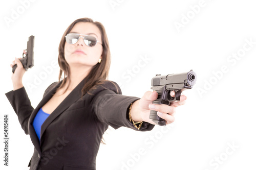 Assassin girl portrait with two guns