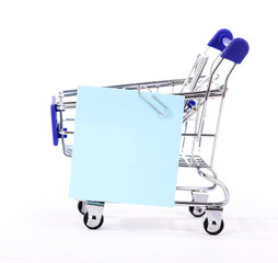 Shopping cart with sale.