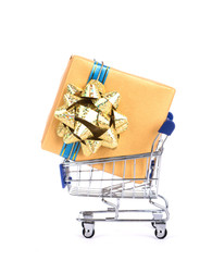 Shopping cart and gift box.