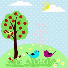 птицы  в саду на голубом фоне с сердечками