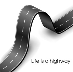 Curved road text frame