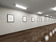 Long gallery with blank pictures