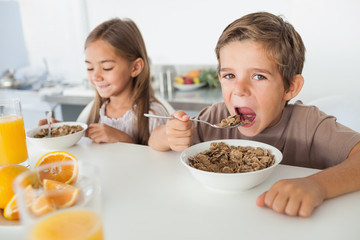 Boy eating cereal next to his sister