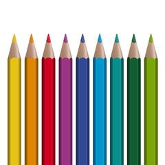 9 farbige Stifte in Reihe