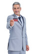 Confident businessman holding credit card