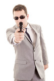 Businessman bodyguard isolated on a white background poster