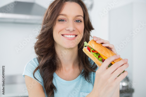 Pretty brunette having sandwich