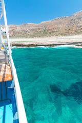 Balos bay and  Passenger Ship. View from Gramvousa Island,Greece