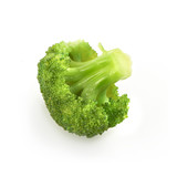 single piece of broccoli isolated on a white backround with shad