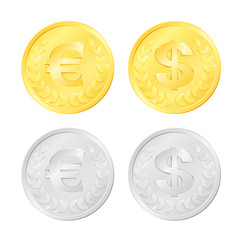 Gold and silver colored coins of an euro and dollar currency