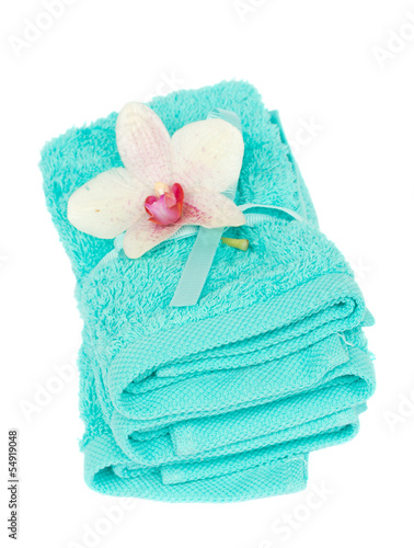pile bath towels with flower