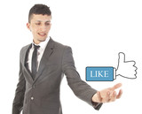 Young man with Like thumbs up isolated