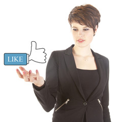 Young woman with Like thumbs up isolated