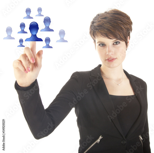 Young woman selecting blue virtual friends isolated