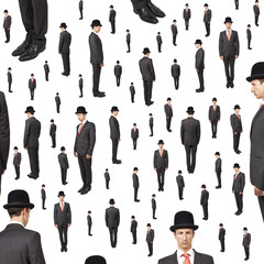 background of many gentlemen looking in various direction