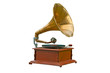 Old gramophone on white background