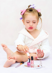girl painting nails