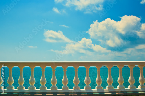Balustrade on sea shore