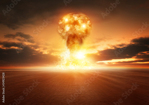 Staande foto Zandwoestijn Atom Bomb Explosion