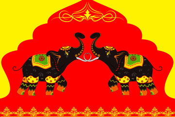vector illustration of decorated elephant showing Indian culture