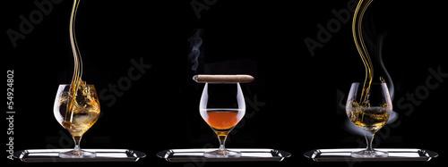 Cognac and Cigar on black - 54924802