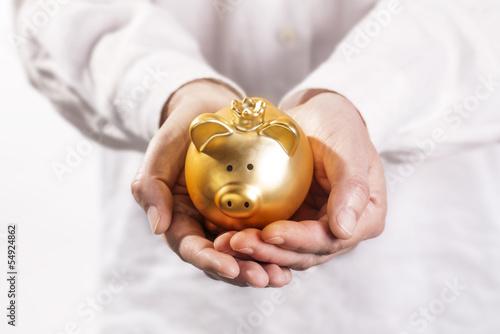 Goldenes Sparschwein wird auf Händen getragen