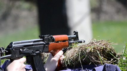 shooting AK 47 at the range