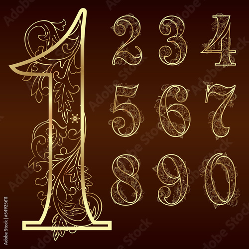 Set of vintage floral numbers