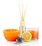 Aromatic sticks for home with fruity odor isolated on white