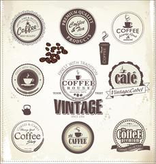 Set Of Vintage Retro Coffee Badges