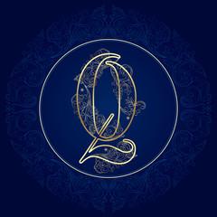 Vintage floral alphabet, letter Q