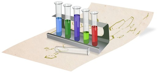 Test tubes with colored liquids in rack placed at parchment