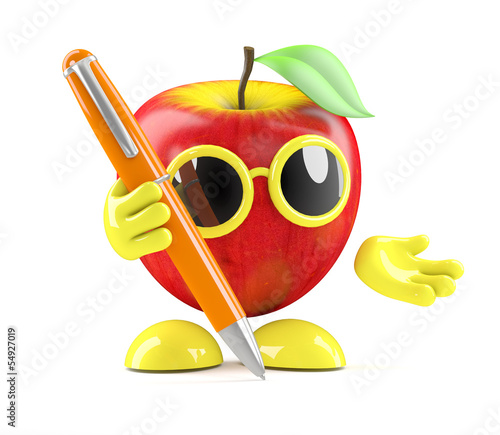 3d Apple writes with a pen
