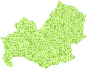 Decorative map of Molise - Italy - in a mosaic of green squares