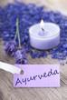 Ayurveda on a purple label