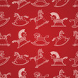 Christmas pattern with rocking horses, vector Eps10 image.