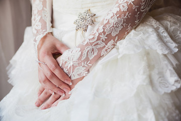 Beautiful bride's hands with manicure