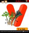 letter v with vegetables cartoon illustration