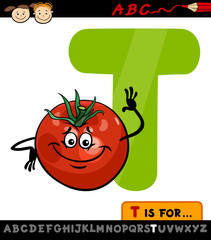 letter t with tomato cartoon illustration
