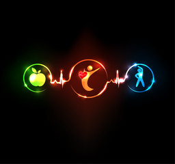 Healty heart concept. Diet and fitness leads to healthy heart