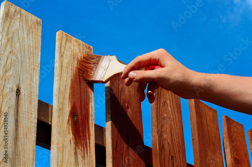 Leinwandbild Motiv Painting wooden fence