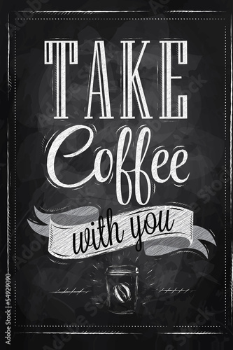 Sticker Poster lettering take coffee with you chalk