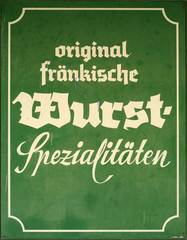 A Sign For Famous Specialist German Sausages (Wurst)