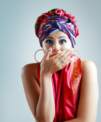 woman in turban on her head