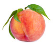Peach fruit with leaves, studio isolated